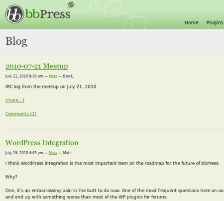 Screenshot vom Blog der bbPress-Entwickler
